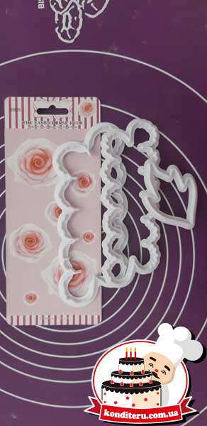 Набор вырубок роза чайная с листом из 3 шт