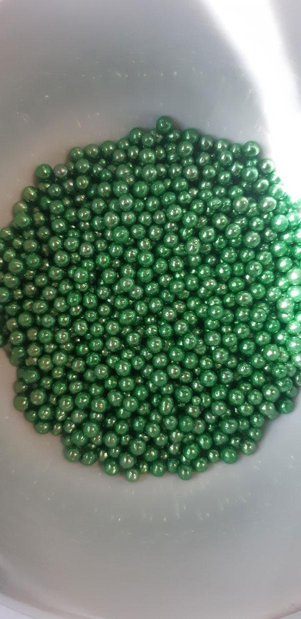 Шарики сахарные зеленые 5 мм блестящие 100 гр